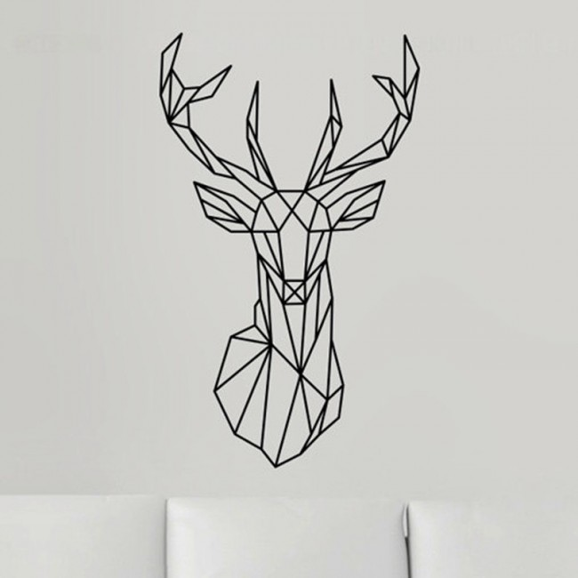 Geometric Deer Head wall decal
