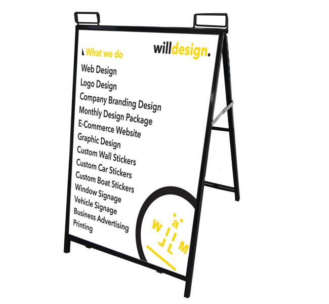 WillDesign - Sign A-Frames 600mm x 900mm - Footpath Sign - Signage ...